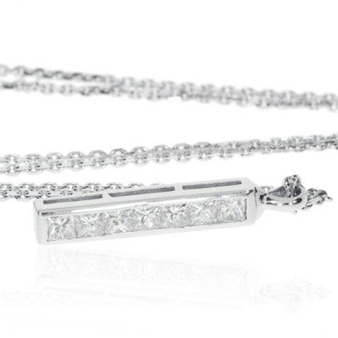 Princess Cut Diamond Bar Pendant by Heidi Kjeldsen Jewellers P891 Flat