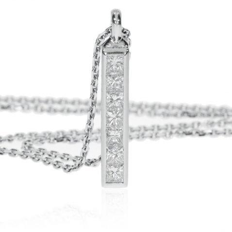 Princess Cut Diamond Bar Pendant by Heidi Kjeldsen Jewellers P891 Standing