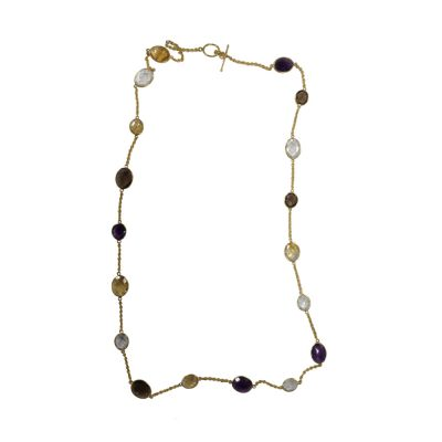 "22ct Gold plated sterling Silver 36"" multigem necklace"