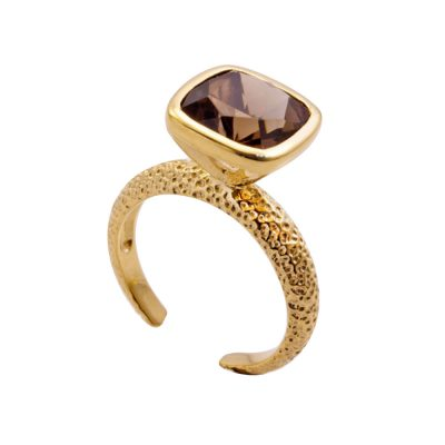 Azuni 24ct Gold Plated Open Backed Snokey Quartz Ring