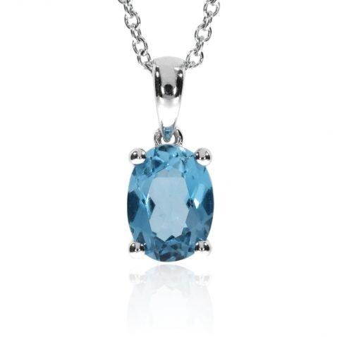 Eye-catching Blue Topaz Pendant By Heidi Kjeldsen Jewellers P1054 Front