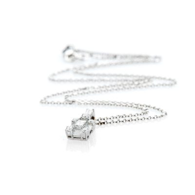 Gorgeous Diamond Baguette and Brilliant Cut Diamond-Pendant in 18ct White Gold