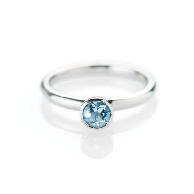 Heidi Kjeldsen Alluring Aquamarine and 18ct White Gold Stacking Ring