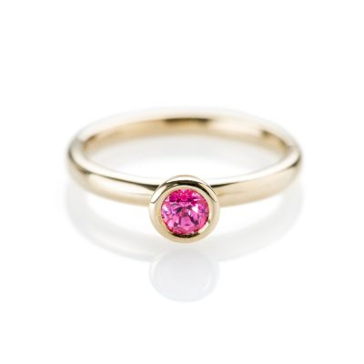 Bright and Beautiful Pink Spinel and 9ct Yellow Gold Stacking Ring
