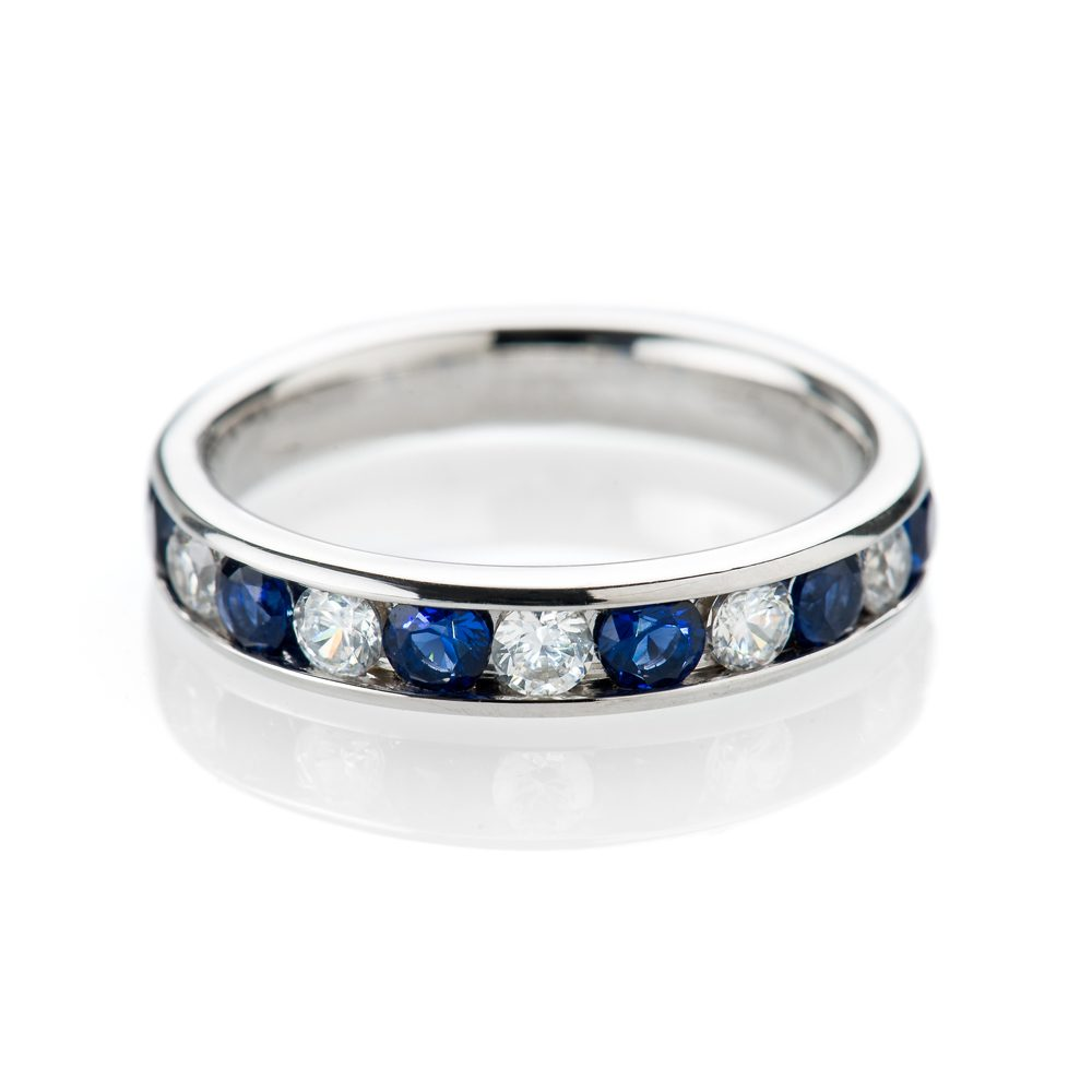 Heidi Kjeldsen Captivating Ceylon Royal Blue Sapphires and Diamond Eternity Ring in 18ct Gold
