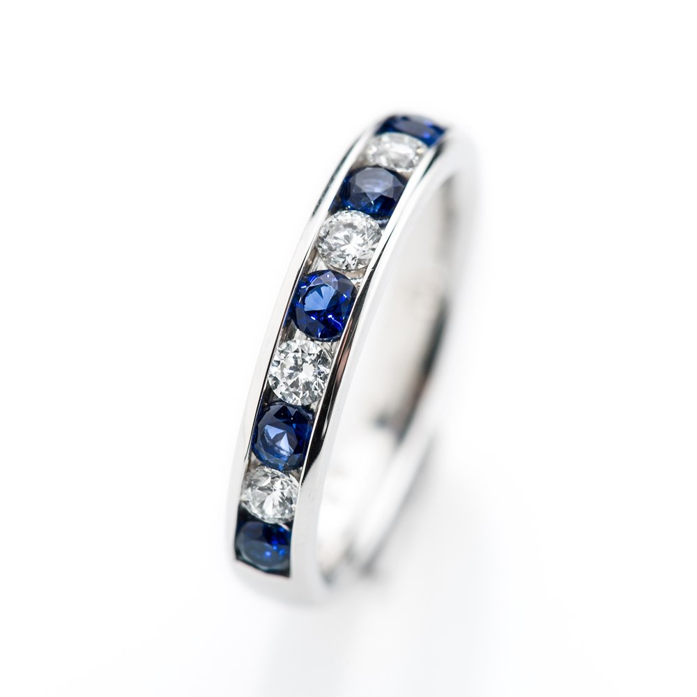 Heidi Kjeldsen Captivating Ceylon Royal Blue Sapphires and Diamond Eternity Ring in 18ct Gold