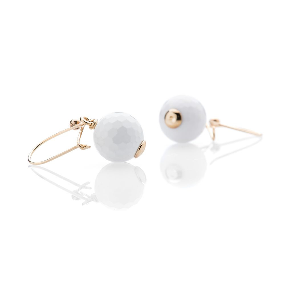 Heidi Kjeldsen Charming White Agate Golf ball and 9ct Yellow Gold Earrings
