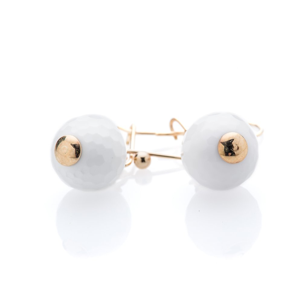 Heidi Kjeldsen Charming White Agate Golf ball and 9ct Yellow Gold Earrings