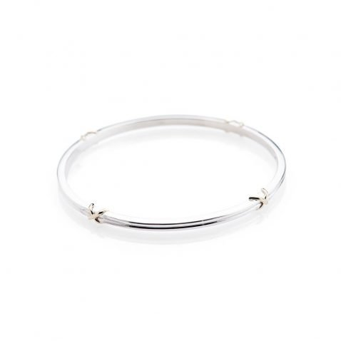 Heidi Kjeldsen Delightful Solid Sterling Silver and 9ct Gold Kiss Bangle