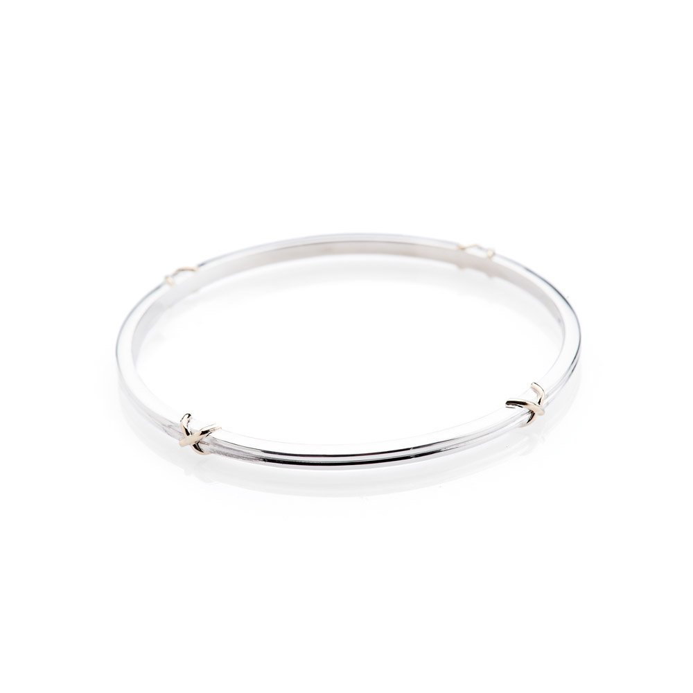"Delightful Solid Sterling Silver and 9ct Gold ""Kiss"" Bangle"