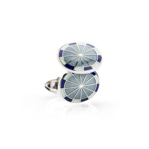 Heidi Kjeldsen Distinguished Sterling Silver Navy Sage Green and Grey Enamelled Cufflinks