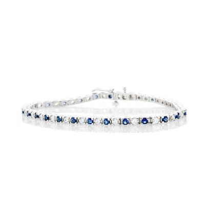 Heidi Kjeldsen Elegant Diamond and Sapphire 18ct White Gold Tennis Bracelet