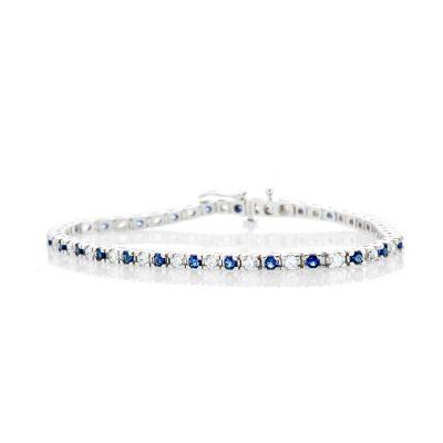 Heidi Kjeldsen Elegant Diamond and Sapphire 18ct White Gold Tennis Bracelet