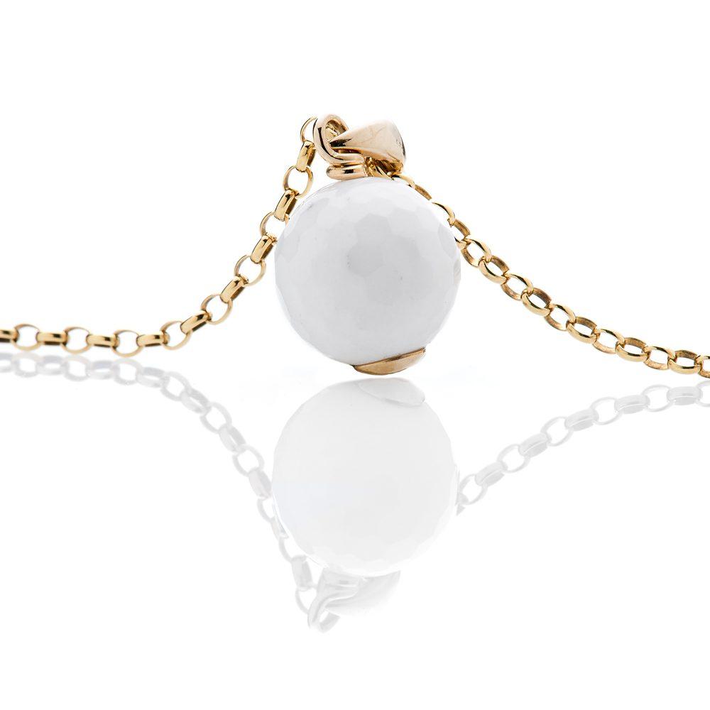 Heidi Kjeldsen Elegant White Agate Golf Ball and 9ct Yellow Gold Pendant