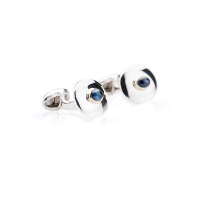 Heidi Kjeldsen Exquisite Modern Stylish Sapphire 9ct Gold and Sterling Silver Cufflinks