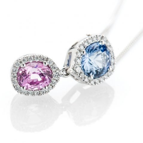 Heidi Kjeldsen Exquisite Oval Ceylon Blue Sapphire Pink Sapphire and Diamond Pendant