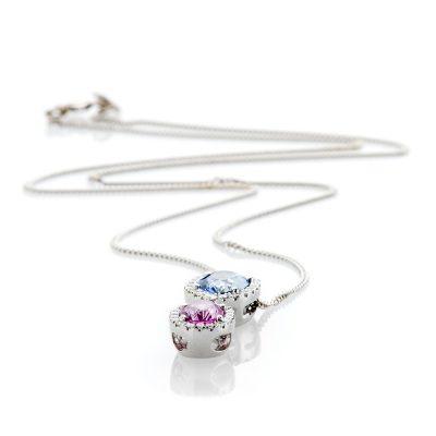 Heidi Kjeldsen Exquisite Oval Ceylon Blue Sapphire Pink Sapphire and Diamond Pendant