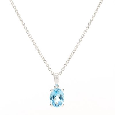 Heidi Kjeldsen Eye Catching Swiss Blue Topaz Oval Pendant White 9ct White Gold
