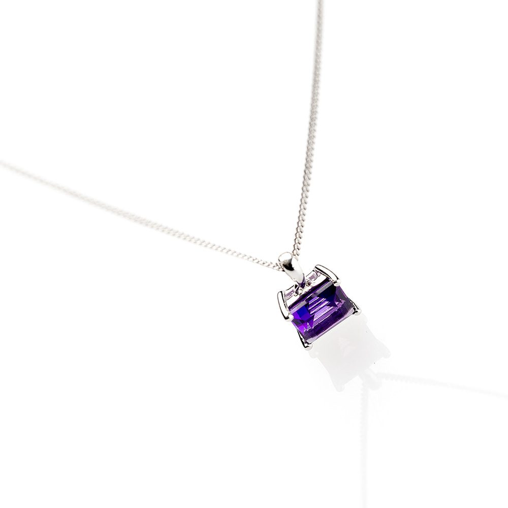 Heidi Kjeldsen Glorious Square Amethyst Pendant in 9ct White Gold