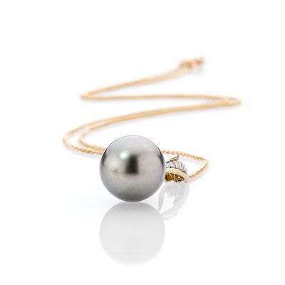 Heidi Kjeldsen Glorious Tahitian Pearl and Diamond 18ct Yellow Gold Pendant