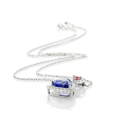 Heidi Kjeldsen Glorious Tanzanite Pink Sapphire and Diamond Trillion Pendant in 18ct