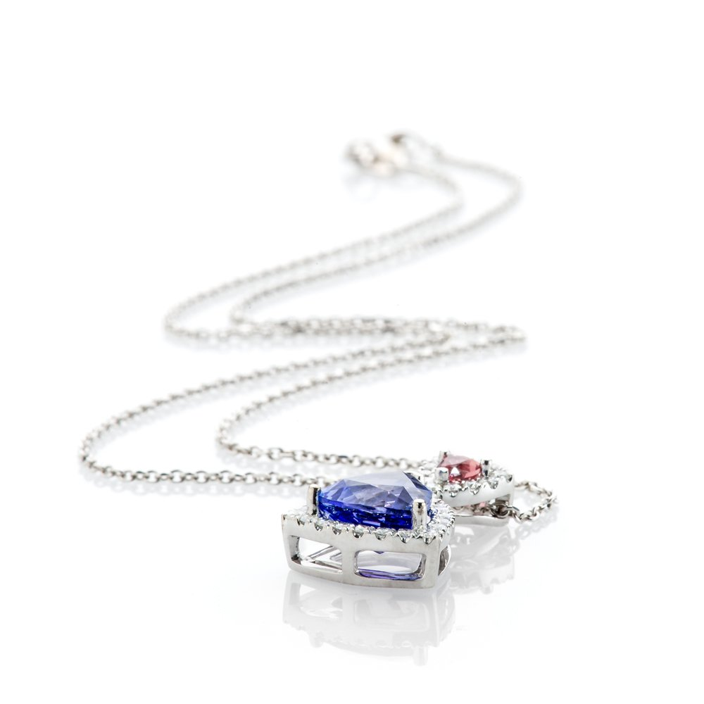 Glorious Tanzanite, Pink Sapphire and Diamond Trillion Pendant in 18ct White Gold