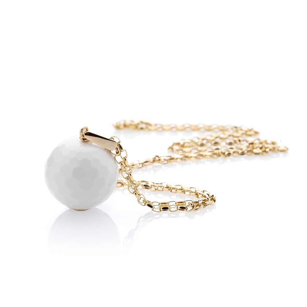 "Gorgeous White Agate ""Golf Ball"" and 9ct Yellow Gold Pendant"