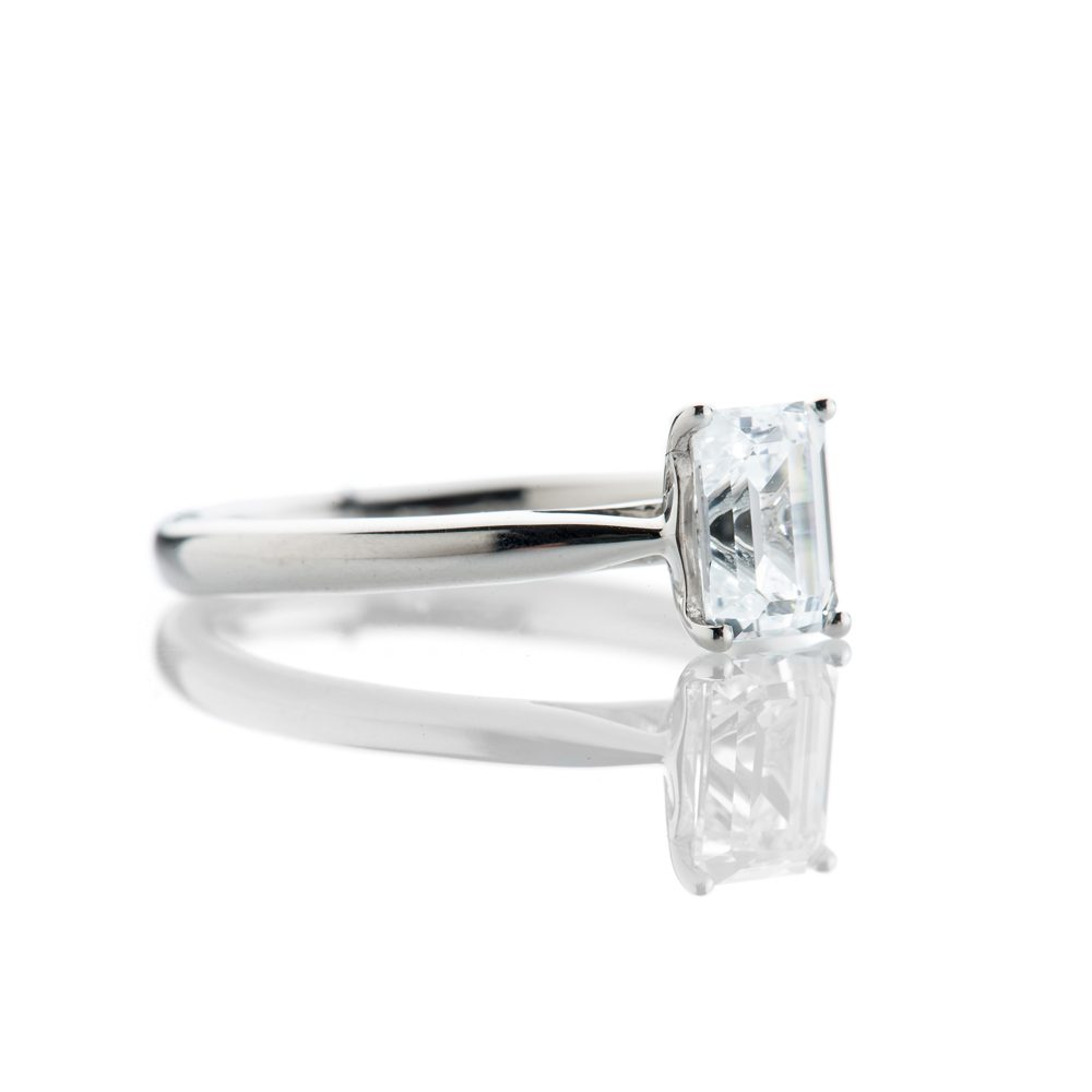 Magnificent Emerald Cut Diamond Engagement Ring in 18ct White Gold or Platinum