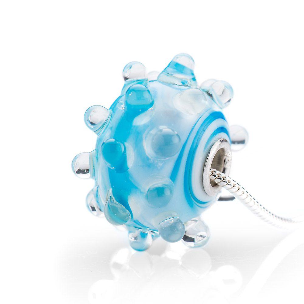 Heidi Kjeldsen Murano Glass and Sterling Silver and Blue Bubbles Pendant