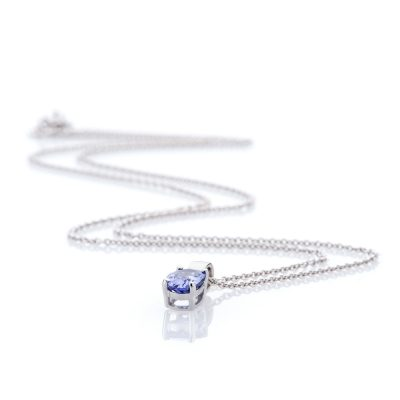 Heidi Kjeldsen Pretty Tanzanite and 9ct White Gold Claw Set Pendant