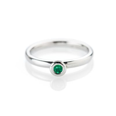 Rare Sandawana Emerald and 9ct White Gold Stacking Ring