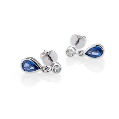 Heidi Kjeldsen Scintillating Sapphire Drops and Diamond 18ct White Gold Earrings