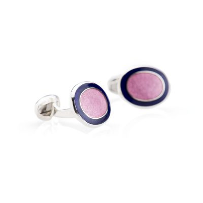 Heidi Kjeldsen Striking Navy and Pink Enamelled Sterling Silver Cufflinks