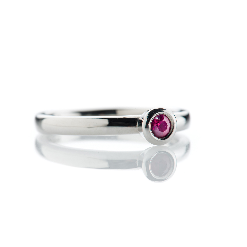 Striking Ruby and 9ct White Gold Stacking Ring