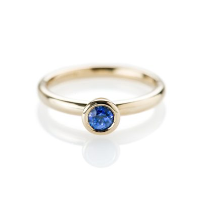 Stunning Ceylon Sapphire and 9ct Yellow Gold Stacking Ring