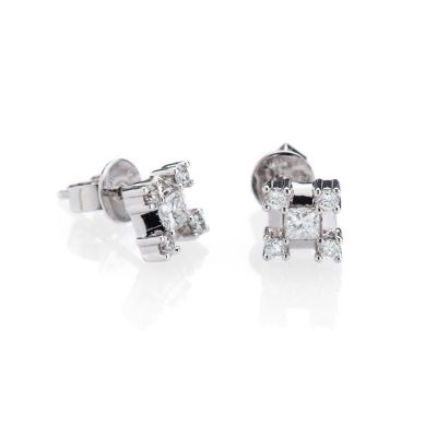Heidi Kjeldsen Stunning Diamond Princess Cut and Brilliant Cut Earrings with 18ct White Gold