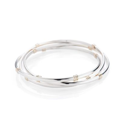 Heidi Kjeldsen Stunning Solid Sterling Silver and 9ct Gold Russian Wedding Style Bangle