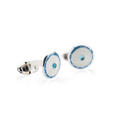 Heidi Kjeldsen Stunning Sterling Silver Blue Topaz Cream and Blue Enamelled Cufflinks