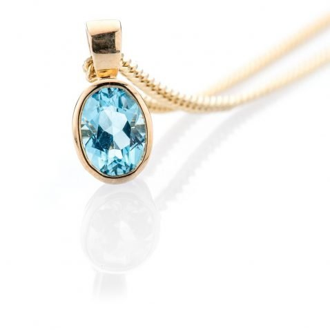 Heidi Kjeldsen Stylish and Modern Blue Topaz and 9ct Yellow Gold Pendant