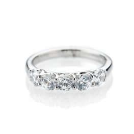 Sumptuous Diamond Five Stone Eternity Ring in 18ct White Gold or Platinum