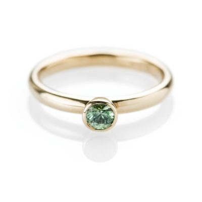 Heidi Kjeldsen Unusual Green Sapphire and 9ct Yellow Gold Stacking Ring