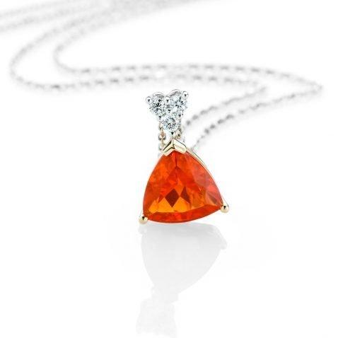 Heidi Kjeldsen A Bright and Beautiful Fire Opal and Diamond Pendant p1074 front