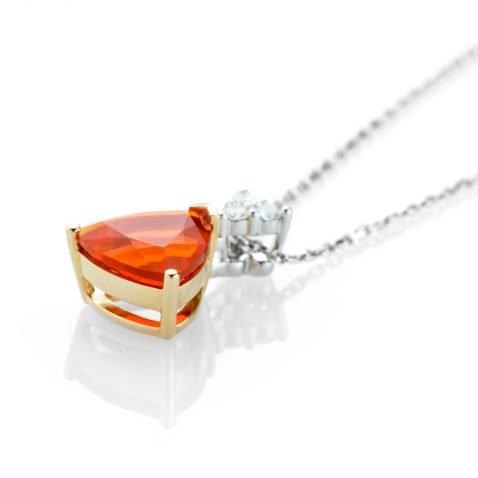 Heidi Kjeldsen A Bright and Beautiful Fire Opal and Diamond Pendant p1074 side