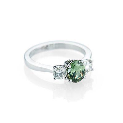 Heidi Kjeldsen A Striking Demantoid Garnet and Diamond 18ct white Gold Ring R1154-1