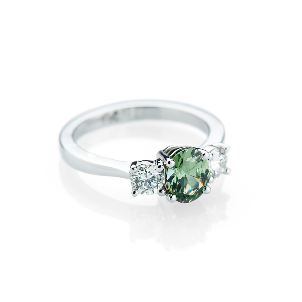 Striking Mid Green Natural Demantoid Garnet, Diamond And Gold Cocktail Or Dress Ring