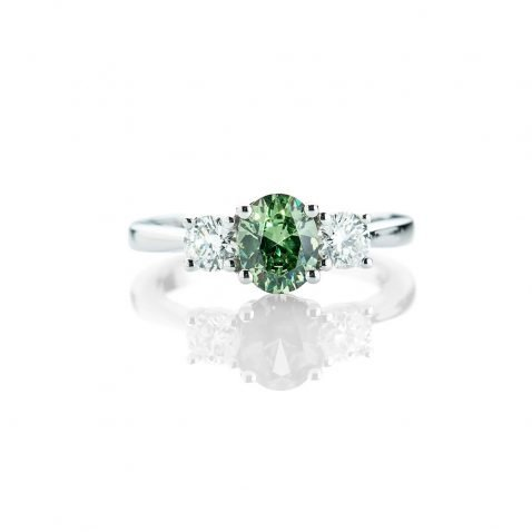 Heidi Kjeldsen A Striking Demantoid Garnet and Diamond 18ct white Gold Ring R1154-1