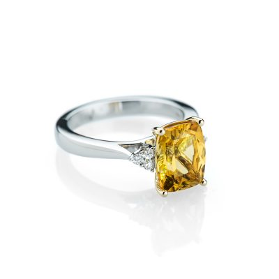 Heidi Kjeldsen An Unusual and Striking Yellow Beryl and Diamond Ring R1151-1