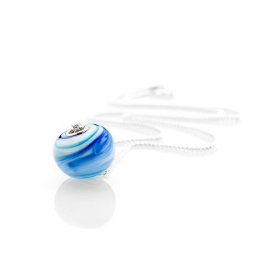 Heidi Kjeldsen Beautiful Blue and White Swirl Pendant P1070+SILCH18-1
