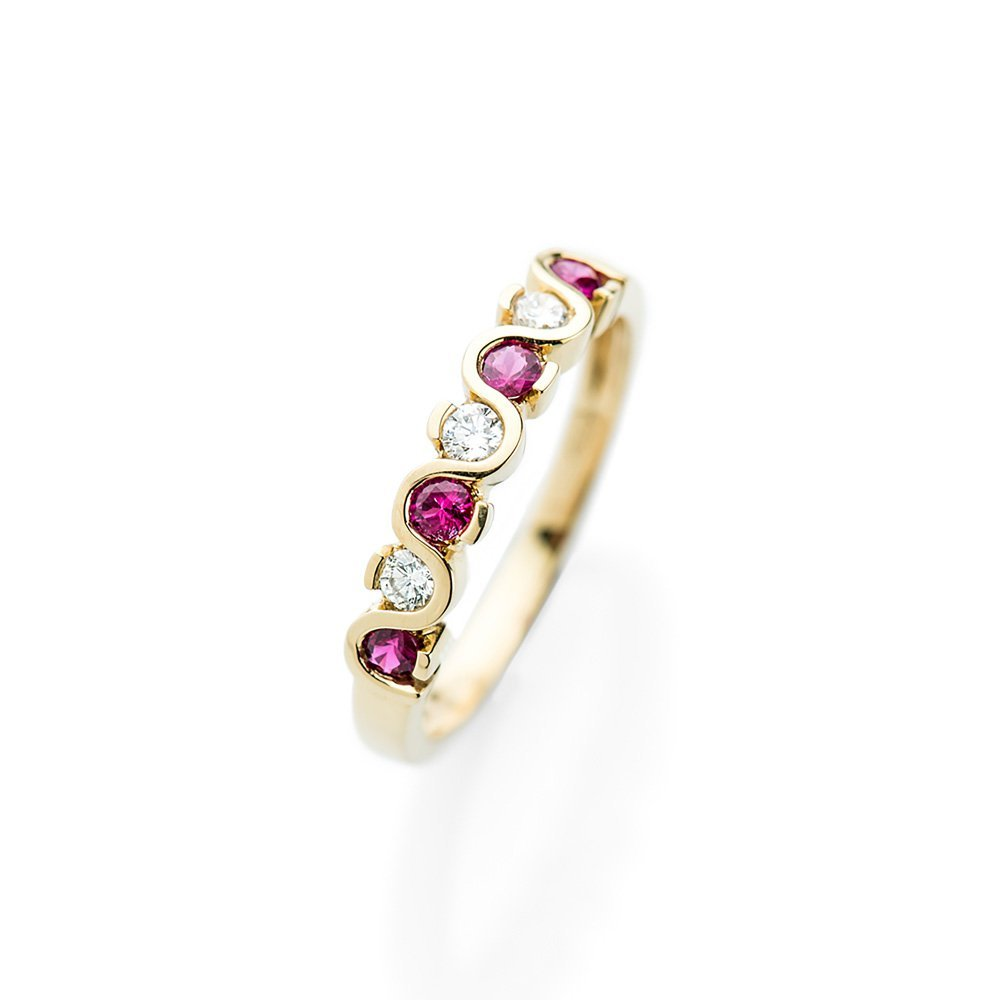 Heidi Kjeldsen Beautiful Ruby and Diamond Wave Ring R1165-1