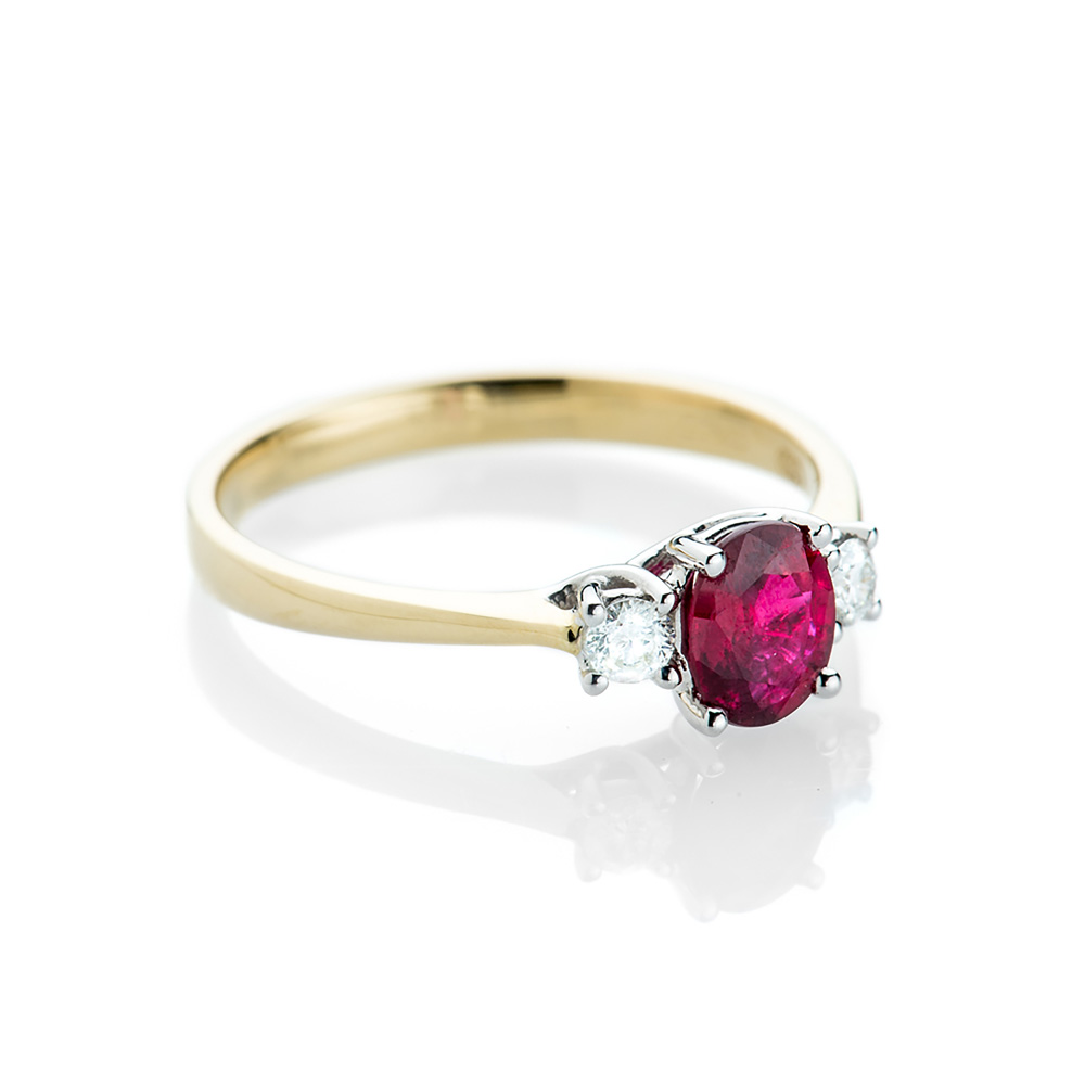 Delightful Ruby and Diamond Three Stone Ring